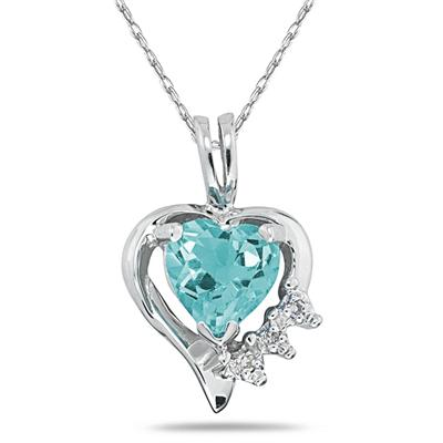 Heart Shape Aquamarine & Diamond Pendant in 10k White Gold