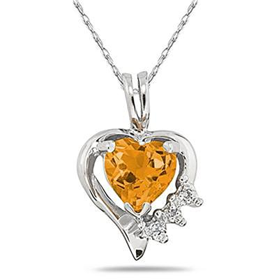 Heart Shape Citrine & Diamond Pendant in 10k White Gold