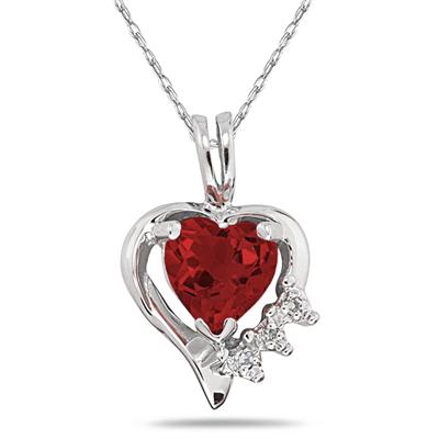 Heart Shape Garnet & Diamond Pendant in 10k White Gold