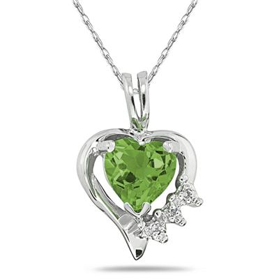Heart Shape Peridot & Diamond Pendant in 10k White Gold