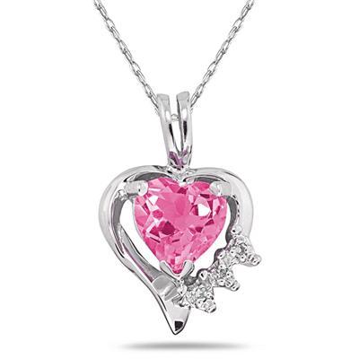Heart Shape Pink Topaz & Diamond Pendant in 10k White Gold