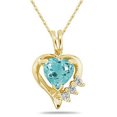 Heart Shape Aquamarine & Diamond Pendant in 10k Yellow Gold