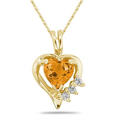 Heart Shape Citrine & Diamond Pendant in 10k Yellow Gold
