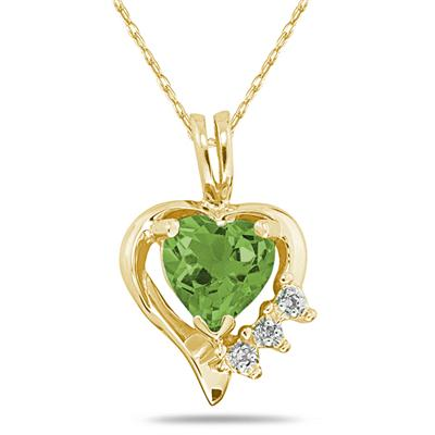 Heart Shape Peridot & Diamond Pendant in 10k Yellow Gold