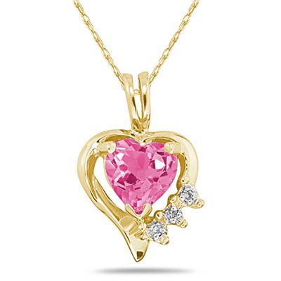 Heart Shape Pink Topaz & Diamond Pendant in 10k Yellow Gold