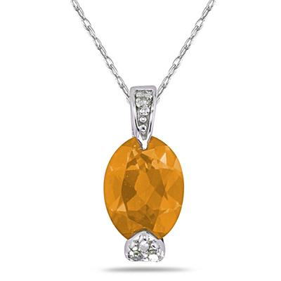 Oval Shaped Citrine Pendant with Diamonds in White Gold