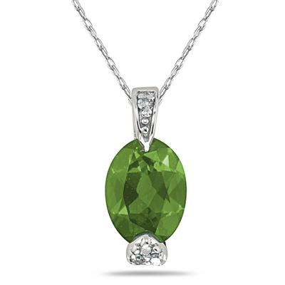 Oval Shaped Peridot Pendant with Diamonds in White Gold