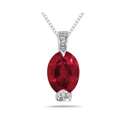 Oval Shaped  Ruby Pendant with Diamonds in White Gold