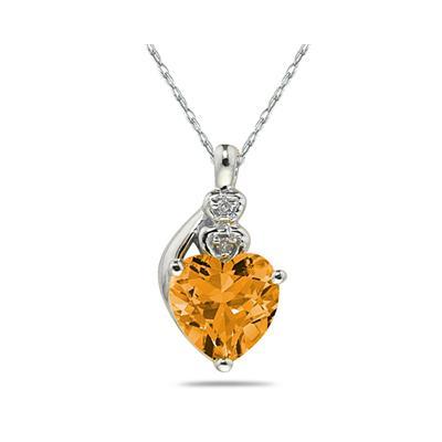 Citrine  & Diamond Heart Pendant in White Gold