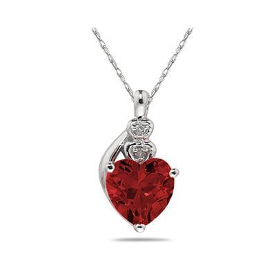 Garnet  & Diamond Heart Pendant in White Gold