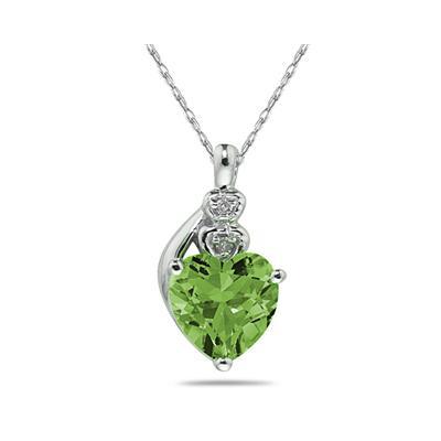 Peridot & Diamond Heart Pendant in White Gold