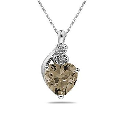 Smokey Quartz   & Diamond Heart Pendant in White Gold