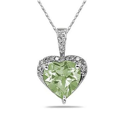 Green Amethyst  & Dimaond Heart Pendant in 10k White Gold
