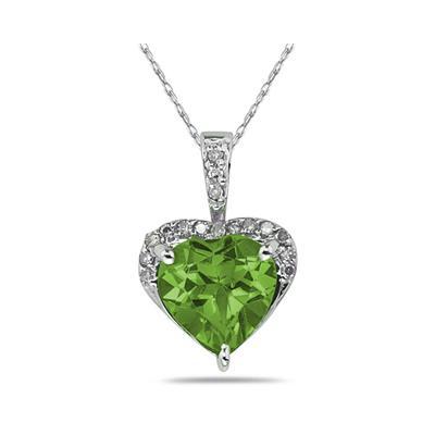 Peridot  & Diamond Heart Pendant in 10k White Gold