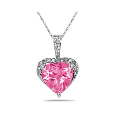 Pink Topaz & Dimaond Heart Pendant in 10k White Gold