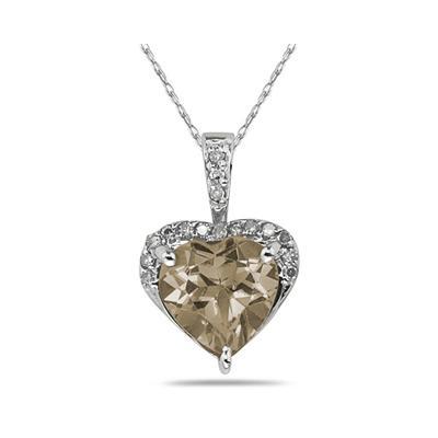 Smokey Quartz & Dimaond Heart Pendant in 10k White Gold