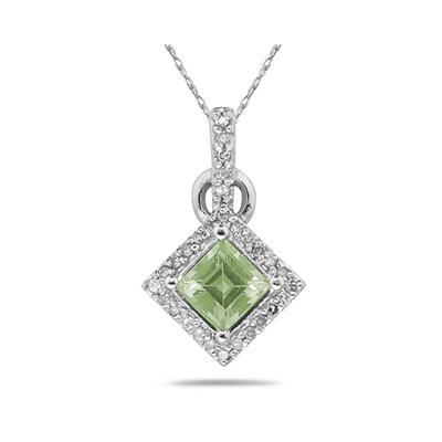 Princess Cut Green Amethyst & Diamond Pendant in 14K White Gold