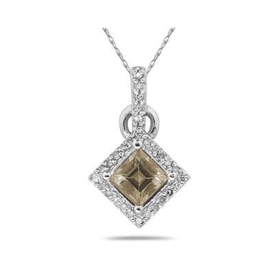 Princess Cut Smokey Quartz   & Diamond Pendant in 14K White Gold