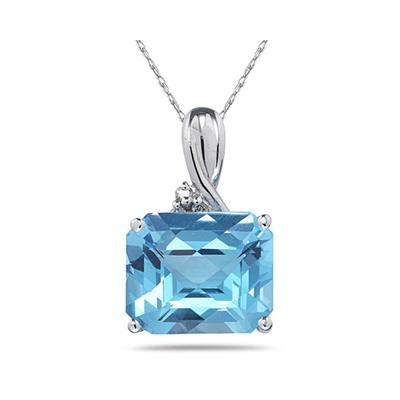 7.60CT Emerald Cut Blue Topaz & Diamond Pendant in White Gold