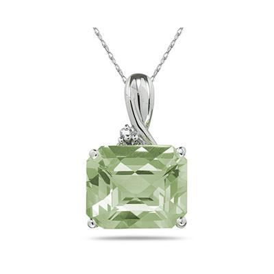 7.60 Carat Emerald Cut Green  Amethyst  & Diamond Pendant in White Gold