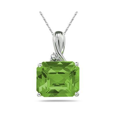 7.60CT Emerald Cut Peridot & Diamond Pendant in White Gold