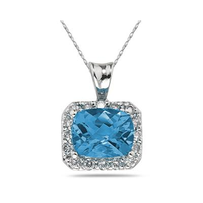 4.70 Carat Blue Topaz and Diamond Pendant in 10K White Gold