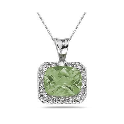 4.70 Carat Green Amethyst and Diamond Pendant in 14K White Gold