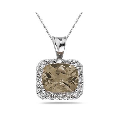 4.70 Carat Smokey Quartz and Diamond Pendant in 14K White Gold