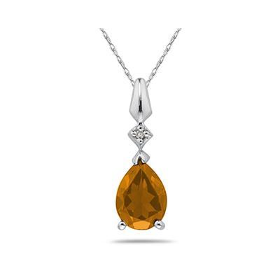 Pear Shaped Citrine & Diamond Pendant in White Gold