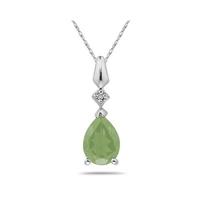 Pear Shaped Green Amethyst & Diamond Pendant in 10k White Gold