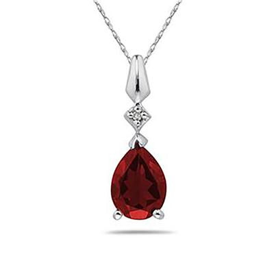 Pear Shaped Garnet & Diamond Pendant in 10k White Gold