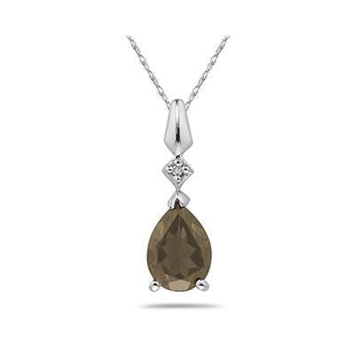 Pear Shaped Smokey Quartz  & Diamond Pendant in 10k White Gold