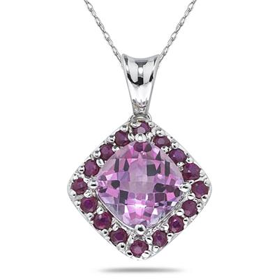 Pink Topaz and Ruby Pendant in 14K White Gold