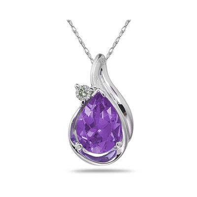 Pear Shaped Amethyst  and Diamonds Raindrop Pendant in White Gold