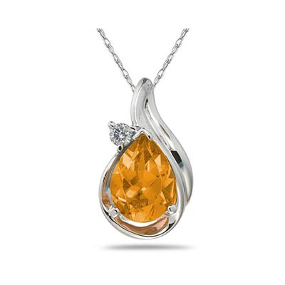 Pear Shaped Citrine and Diamonds Raindrop Pendant in White Gold