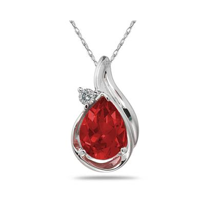 Pear Shaped Garnet and Diamonds Raindrop Pendant in White Gold