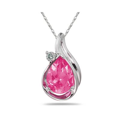 Pear Shaped Pink  Topaz and Diamonds Raindrop Pendant in White Gold