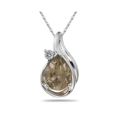 Pear Shaped Smokey Quartz and Diamond Raindrop Pendant in White Gold