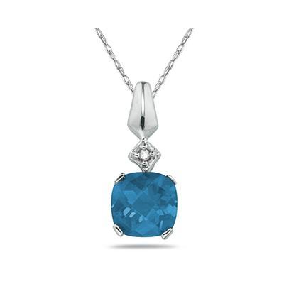 1 Carat Blue Topaz  & Diamond Pendant in 10k White Gold