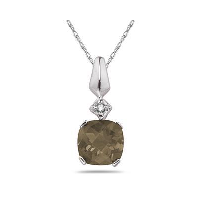 1 Carat Smokey Quartz & Diamond Pendant in 10k White Gold