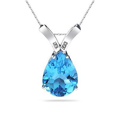 10 1/4 Carat Pear Shaped Blue Topaz & Diamond Pendant in 10K White Gold