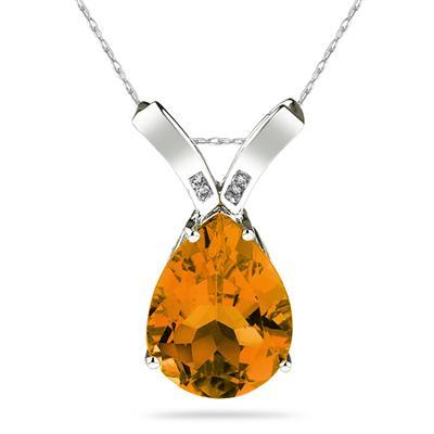 10 1/4 Carat Pear Shaped  Citrine & Diamond Pendant in 14K White Gold