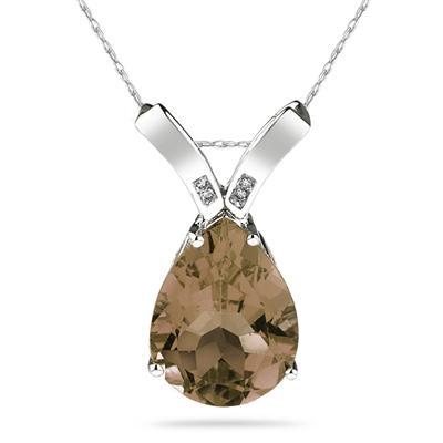 10 1/4 Carat Pear Shaped Smokey Quartz & Diamond Pendant in 10K White Gold