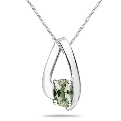 Green Amethyst  Loop Pendant Necklace 10K White Gold