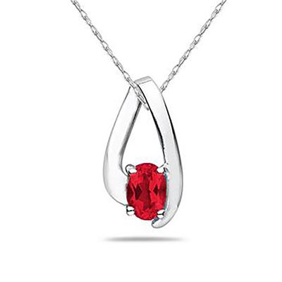 All Natural Ruby Loop Pendant Necklace in 10K White Gold