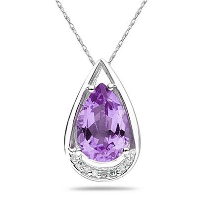 Pear Shaped Amethyst and Diamond Raindrop Pendant in 10k White Gold