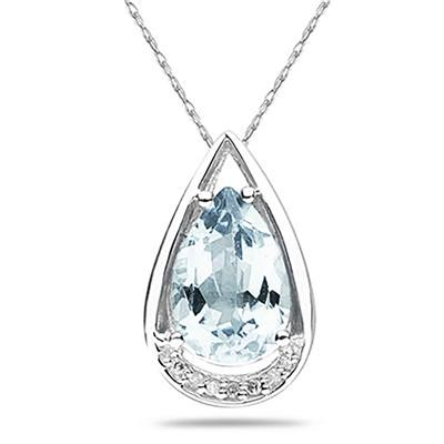 Pear Shaped Aquamarine and Diamond Raindrop Pendant in 10k White Gold