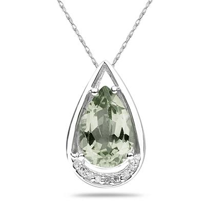Pear Shaped Green Amethyst and Diamond Raindrop Pendant in 10k White Gold