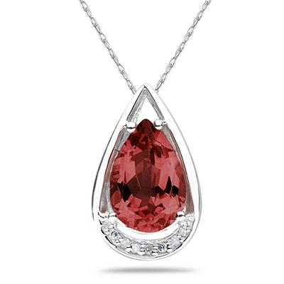 Pear Shaped Garnet and Diamond Raindrop Pendant in 10k White Gold