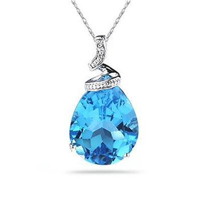 5 Carat Pear Shaped Blue Topaz & Diamond Pendant in 10K White Gold